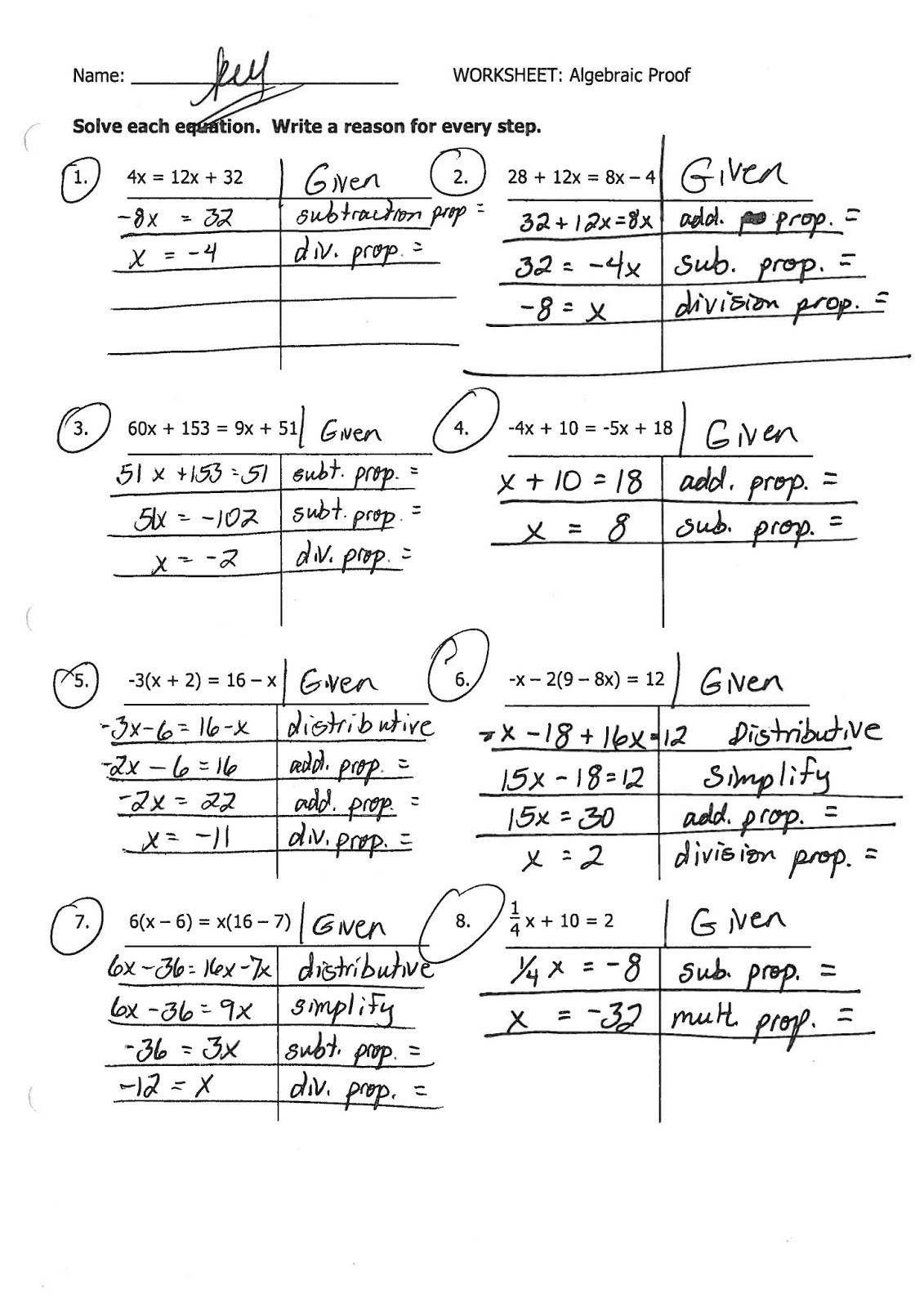 Algebraic Proofs Worksheet With Answers   db excel.com