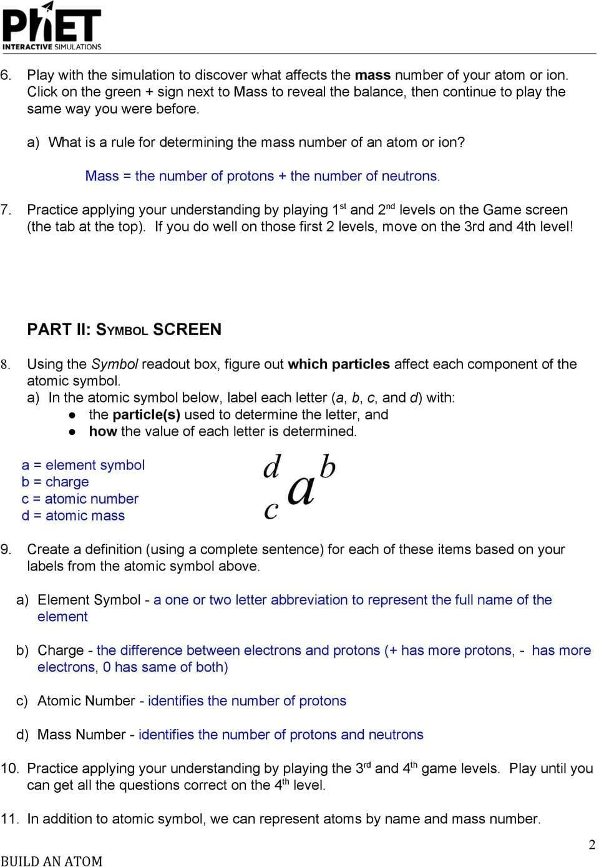 Answer Key Build An Atom Part I Atom Screen Build An Atom ...