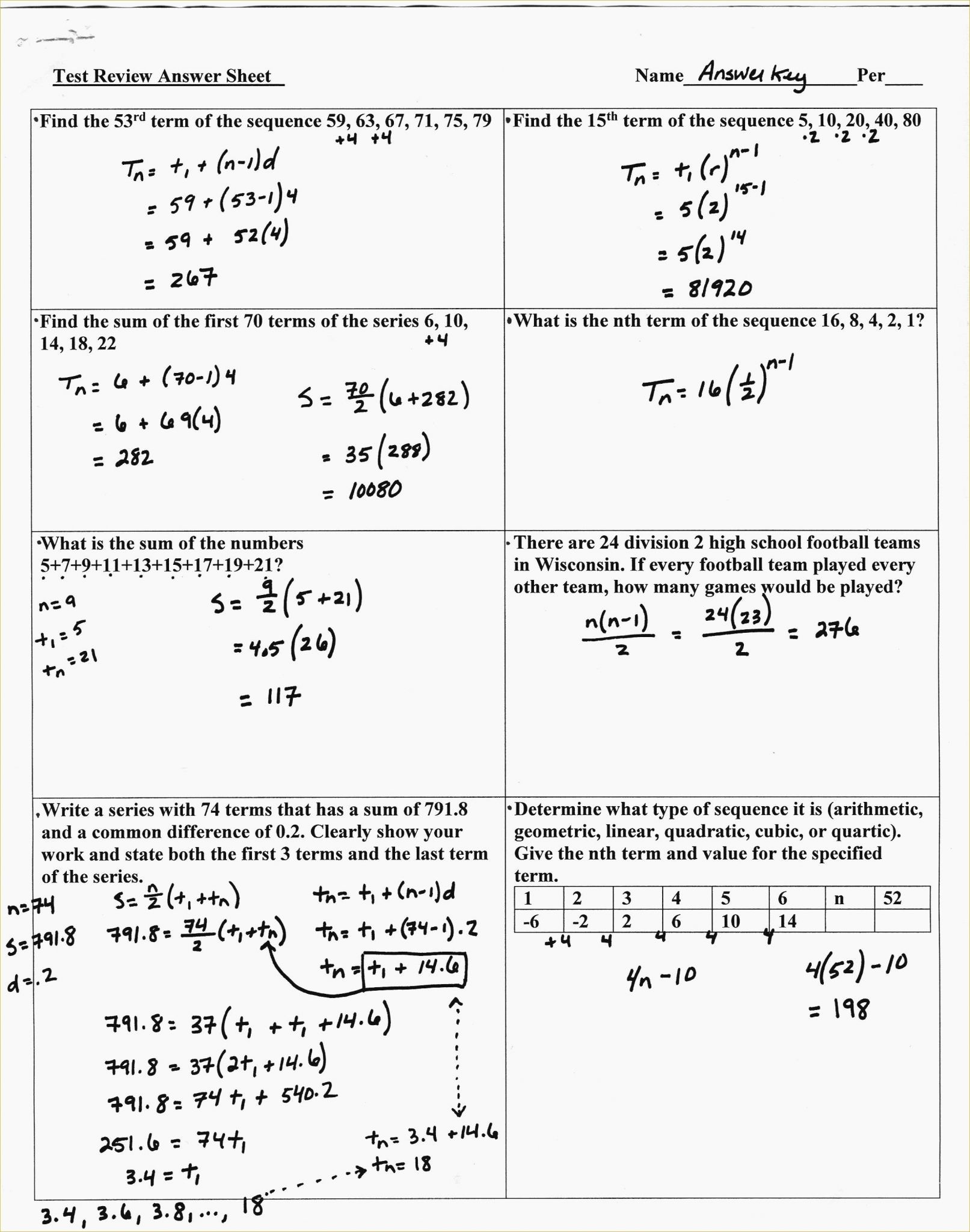 Arithmetic Sequence Practice Worksheet   db excel.com