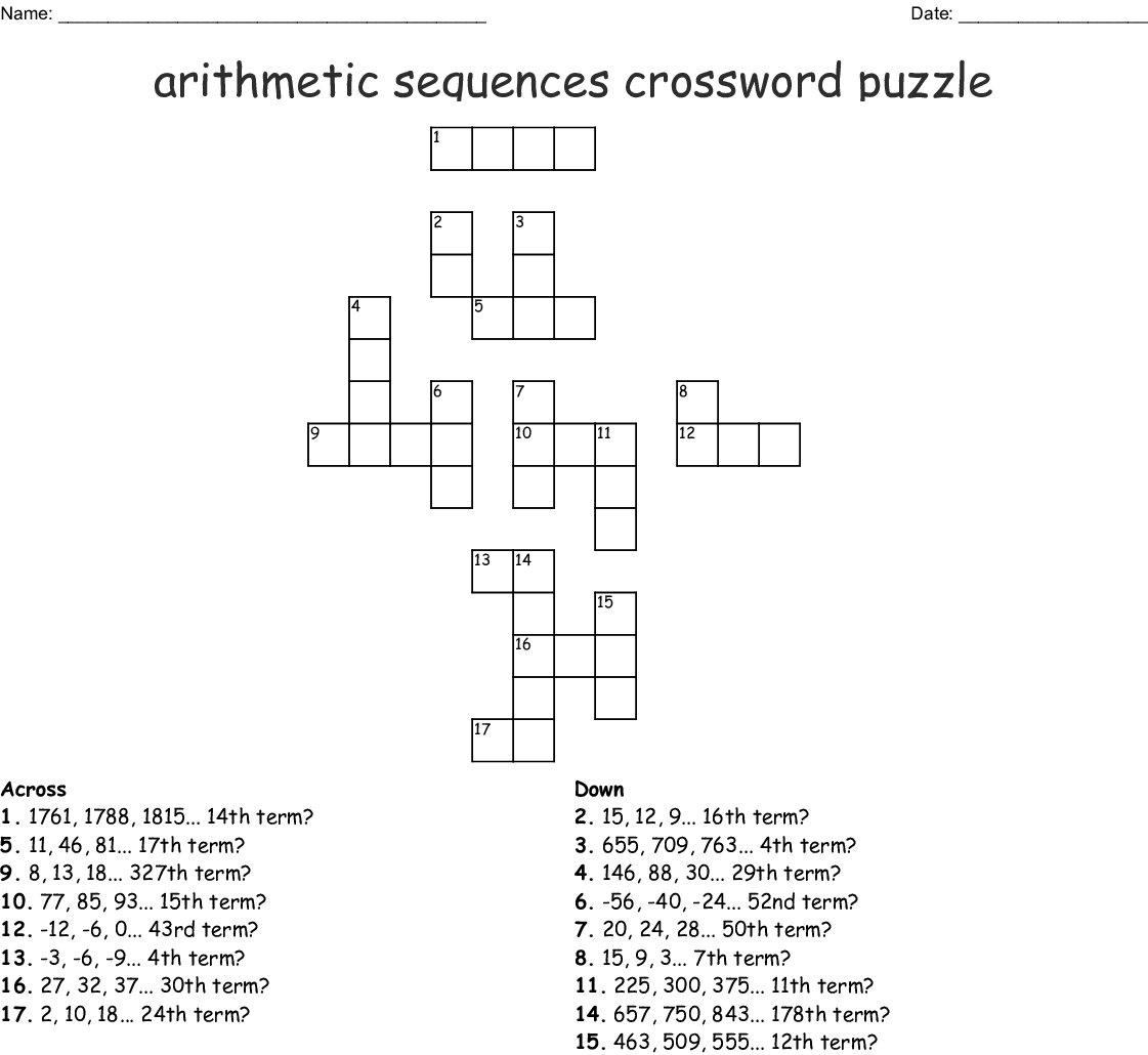 Arithmetic Sequence Worksheet 1 — db excel.com