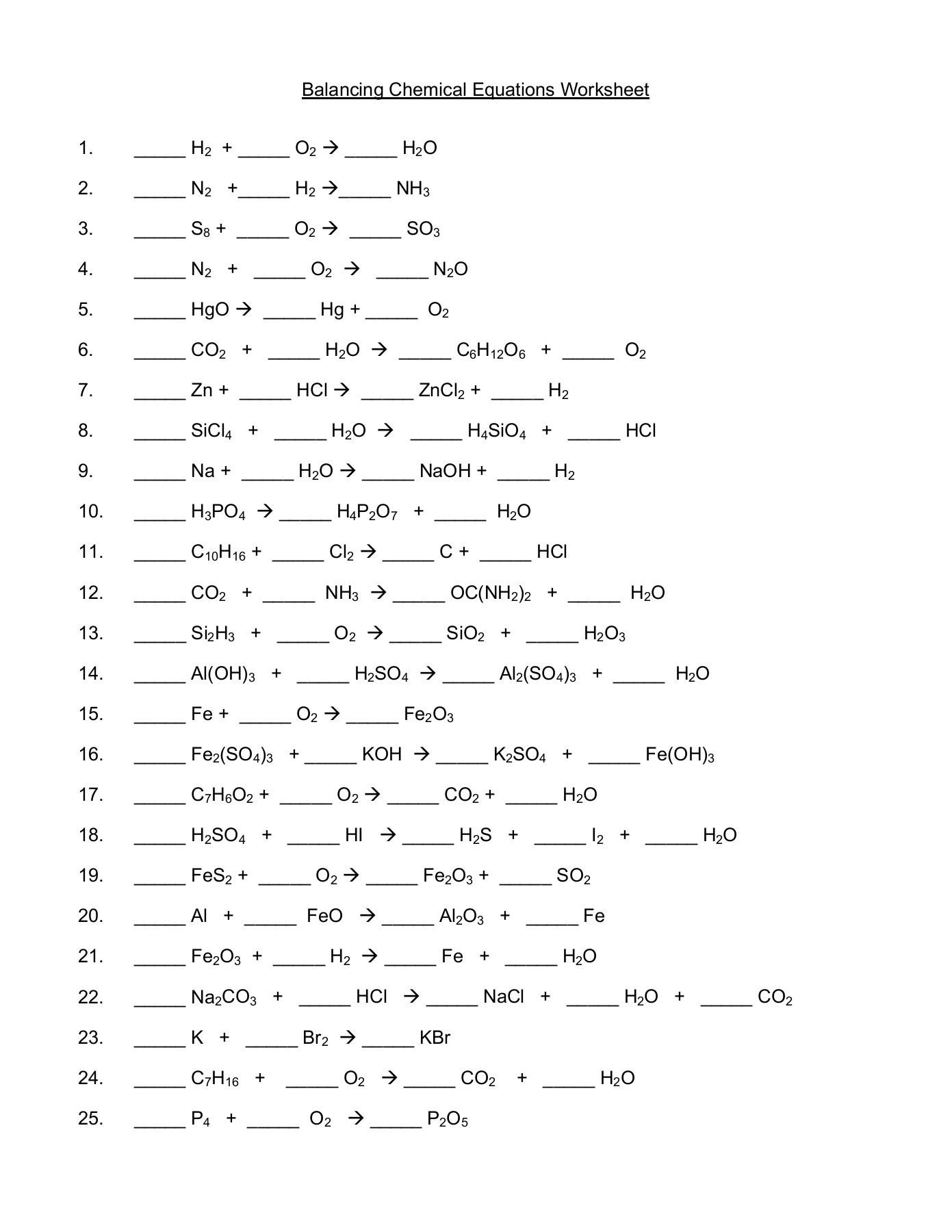 Balancing Chemical Equations Worksheet O Æ H O — db excel.com