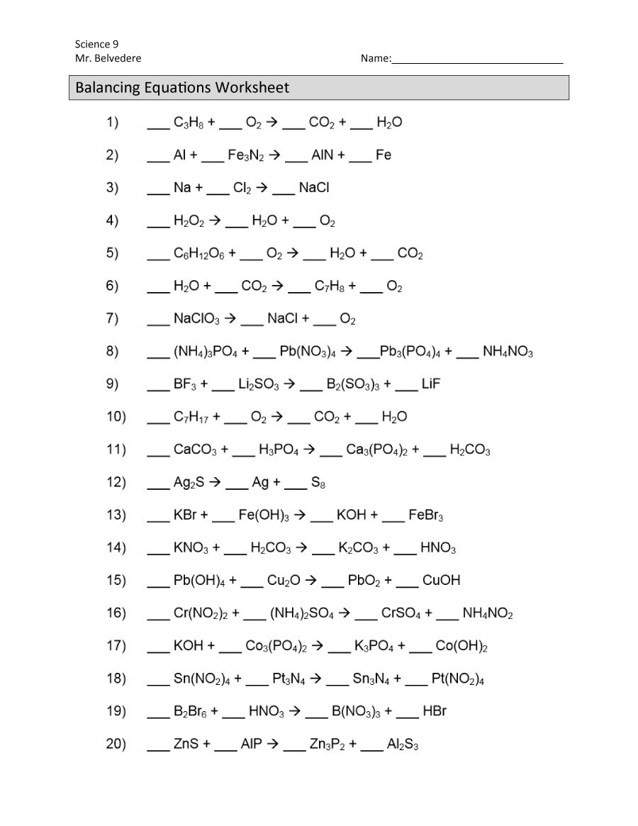 Chemistry Balancing Chemical Equations Worksheet Answer ...