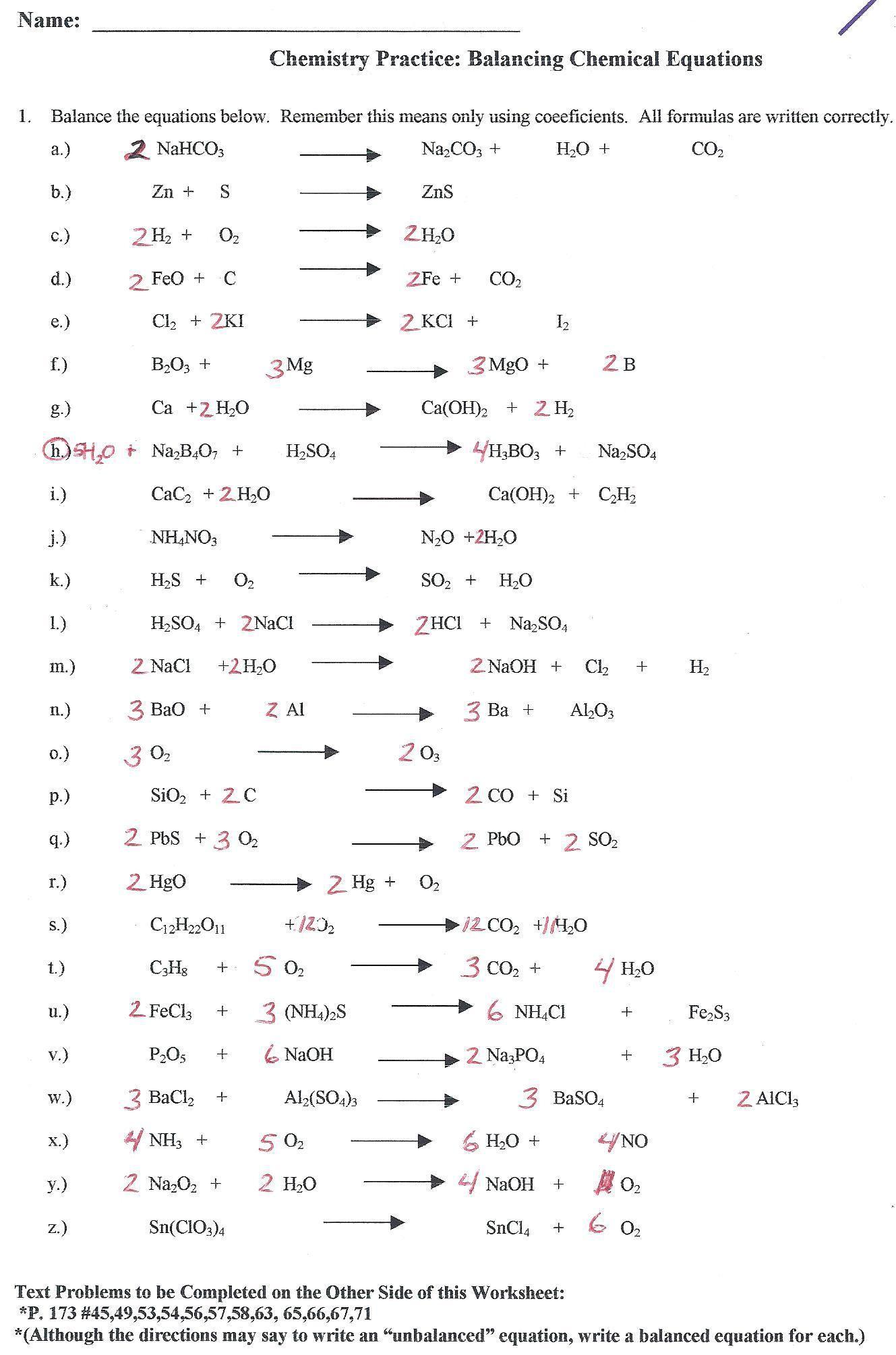 Balancing Equations Race Worksheet Answers — db-excel.com