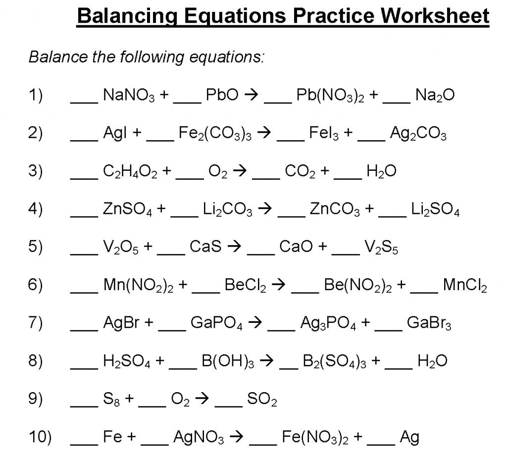 Balancing Equations Worksheet Key Balancing Chemical — db ...