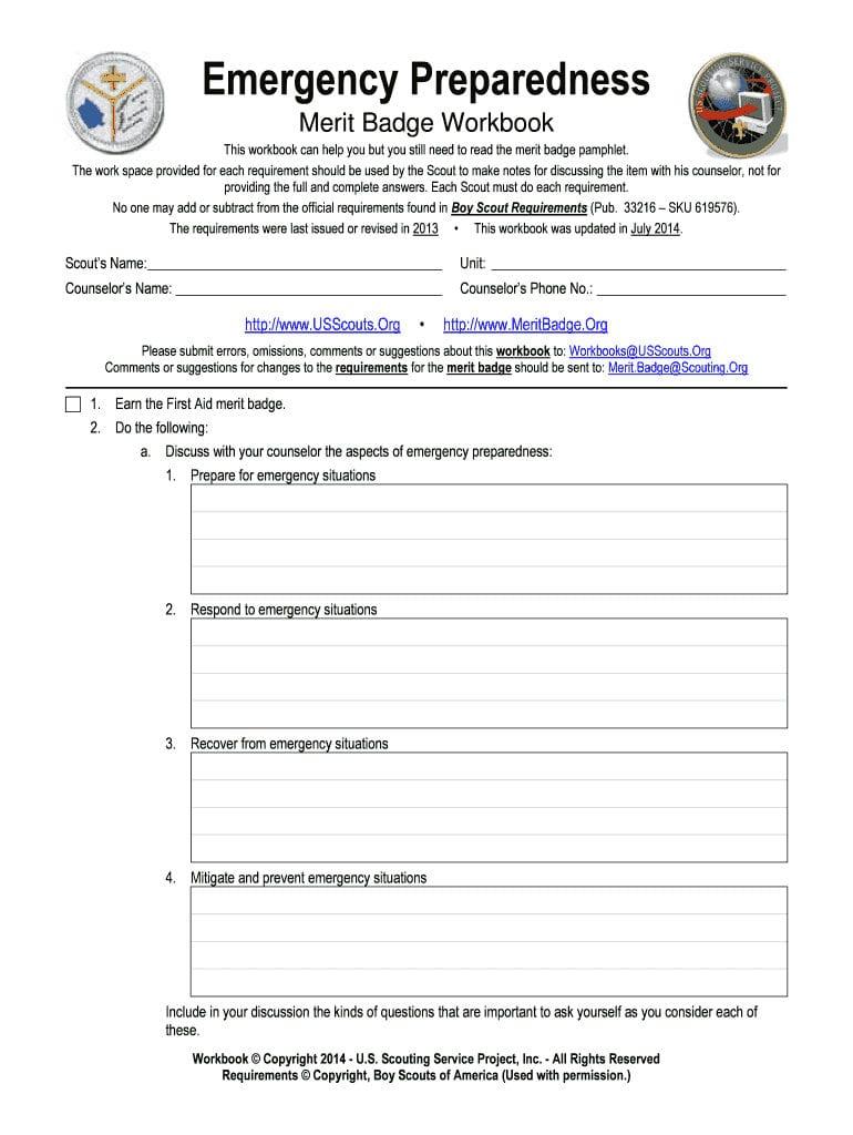 Boy Scout Merit Badge Emergency Preparedness Worksheet ...