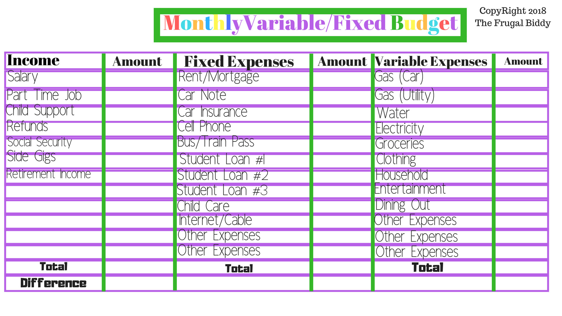 Budgeting Worksheets  The Frugal Biddy