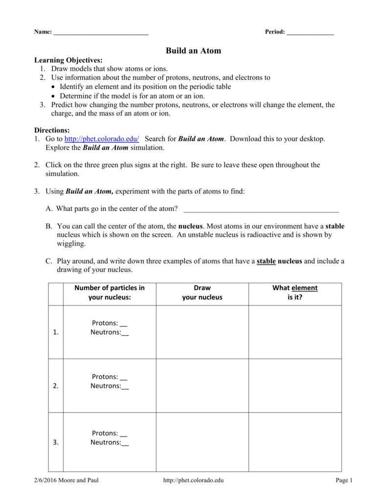 Phet Build An Atom Worksheet Answers   db excel.com