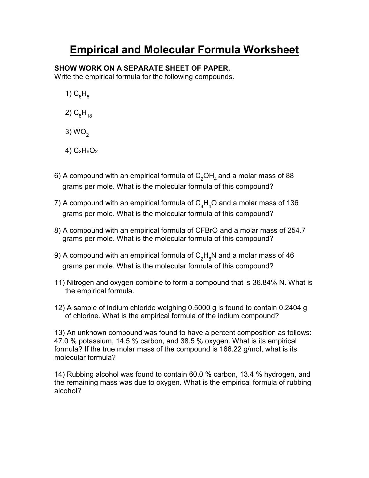Empirical And Molecular Formula Worksheet Answer Key — db ...