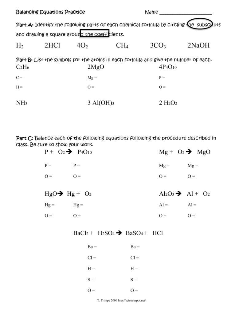 Balancing Equations Practice Worksheet Answer Key | db ...