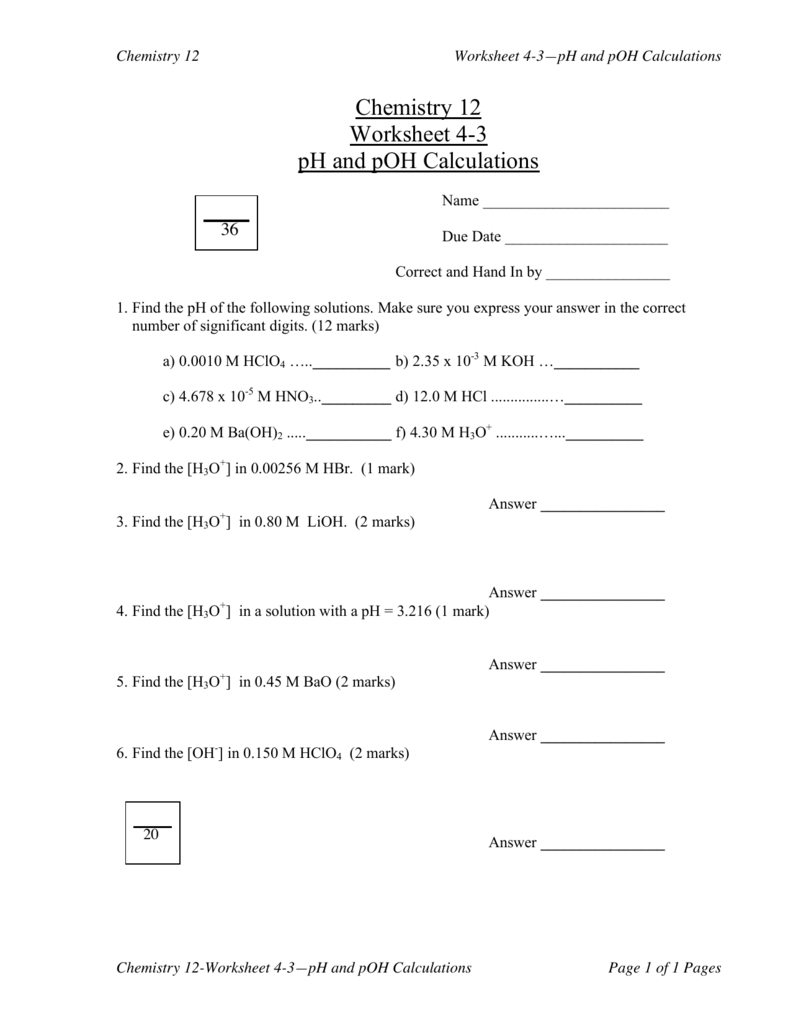 Chemistry 12 Worksheet 43 Ph And Poh Calculations — db ...