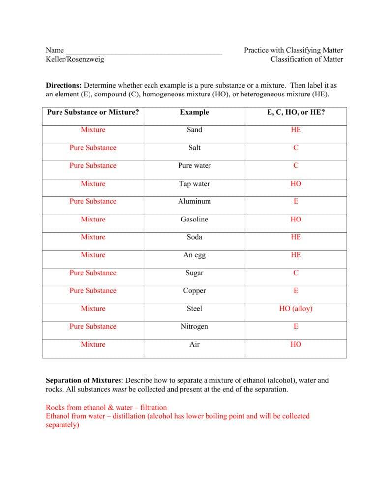 Classification Of Matter Hw Key — db-excel.com