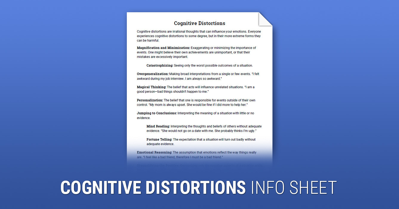 Cognitive Distortions Worksheet  Therapist Aid