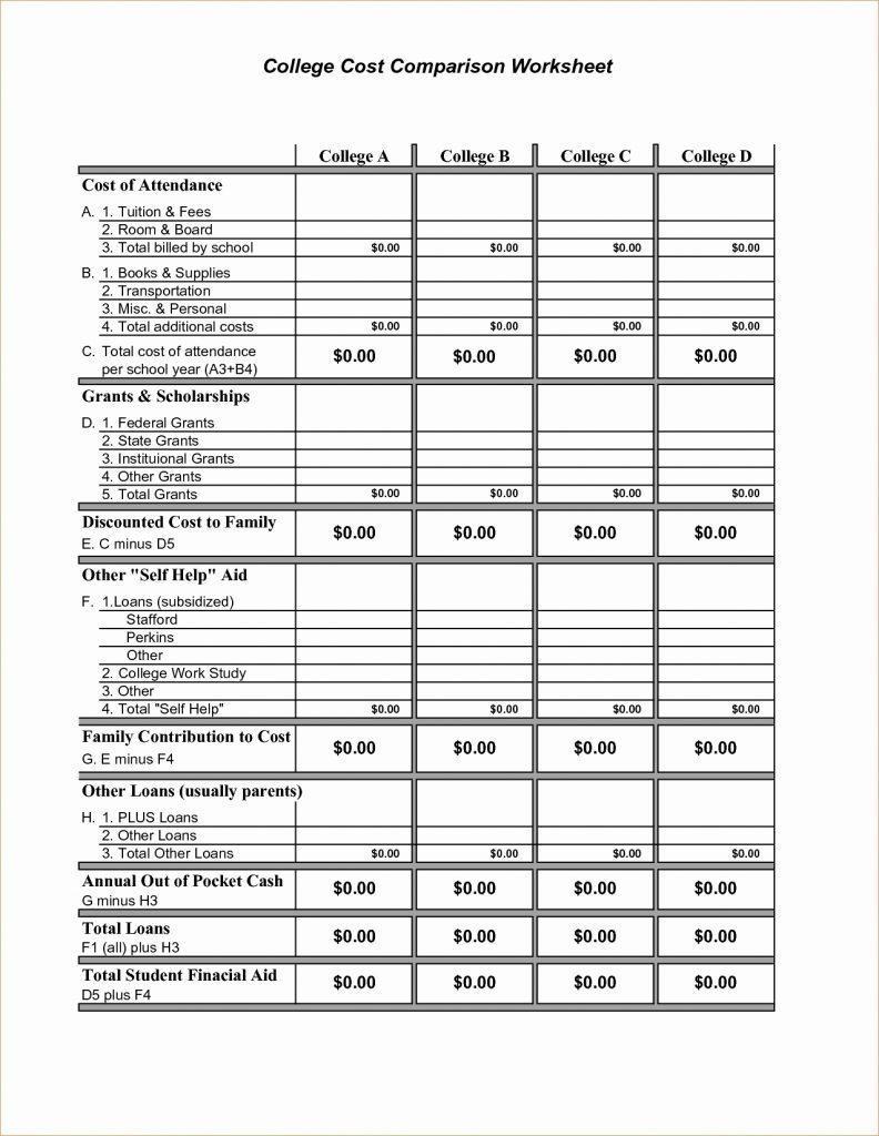 College Comparison Spreadsheet Excel  Worksheet