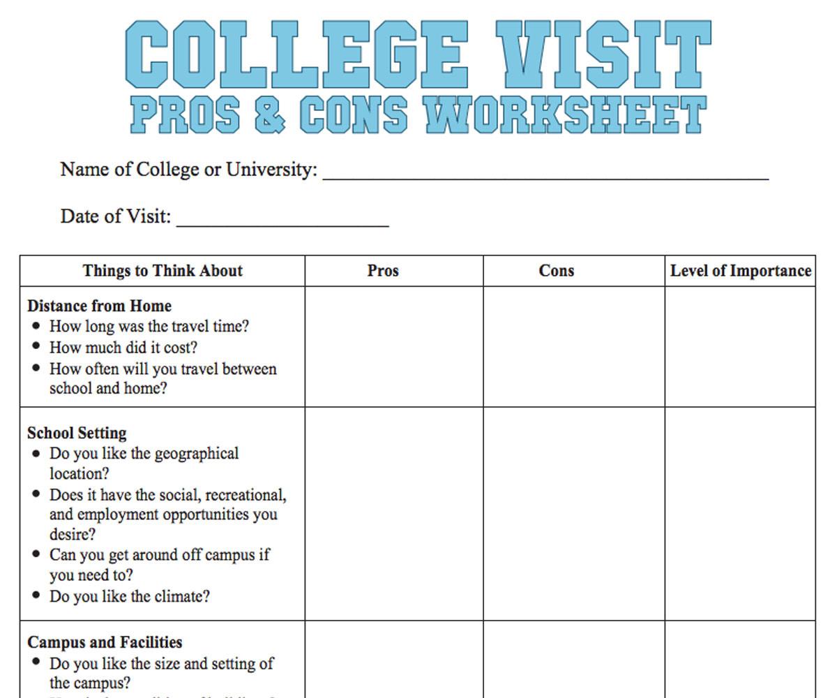 College Visit Checklist Worksheet  Familyeducation
