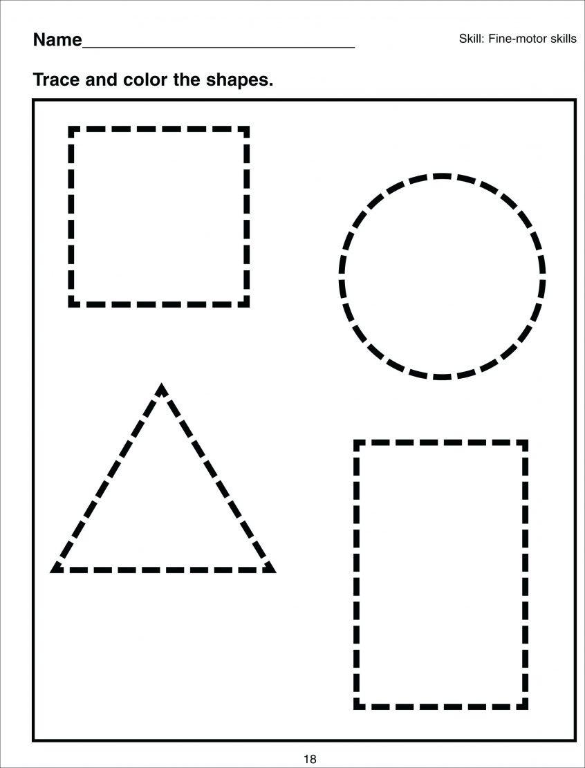 Coloring Basic Shapes For Kindergarten Worksheets Kids