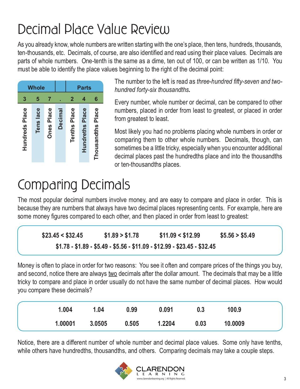 Comparing Decimals Lesson Plan  Clarendon Learning