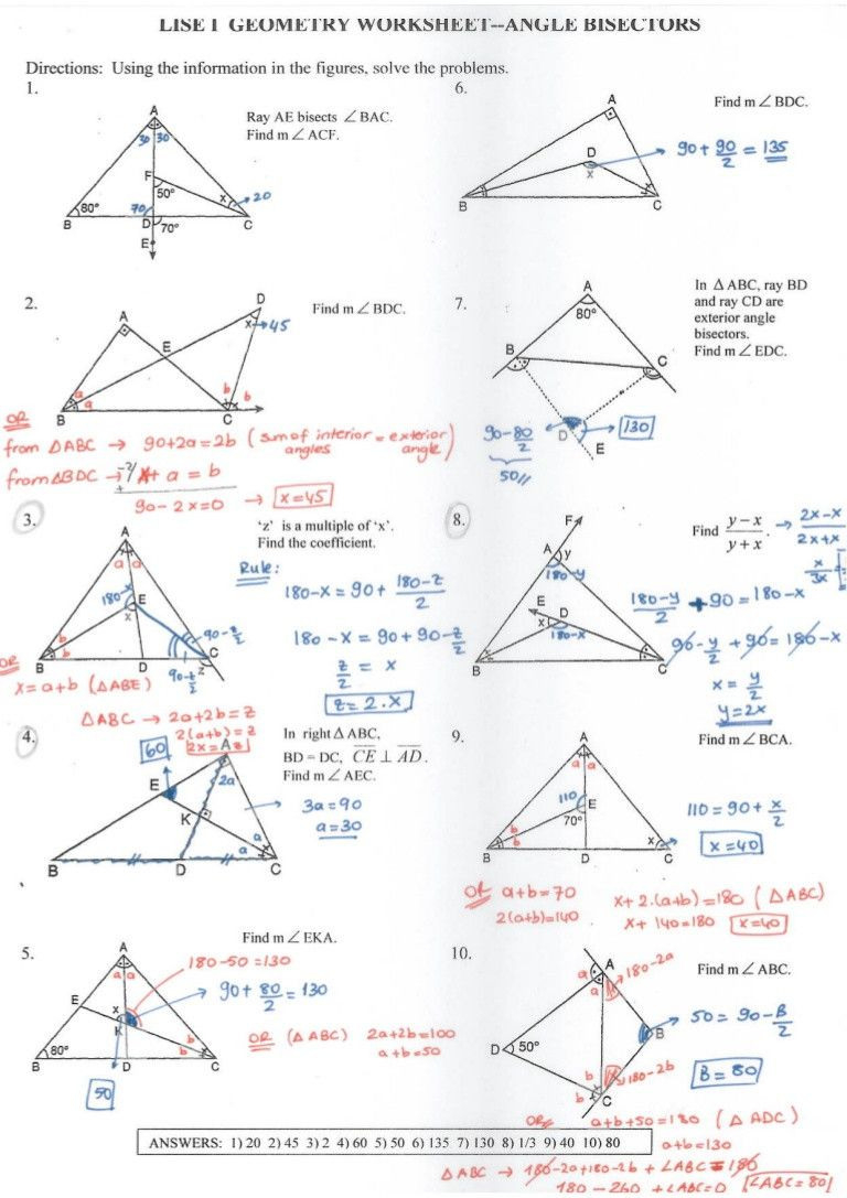 Complementary And Supplementary Angles Worksheet Answers ...
