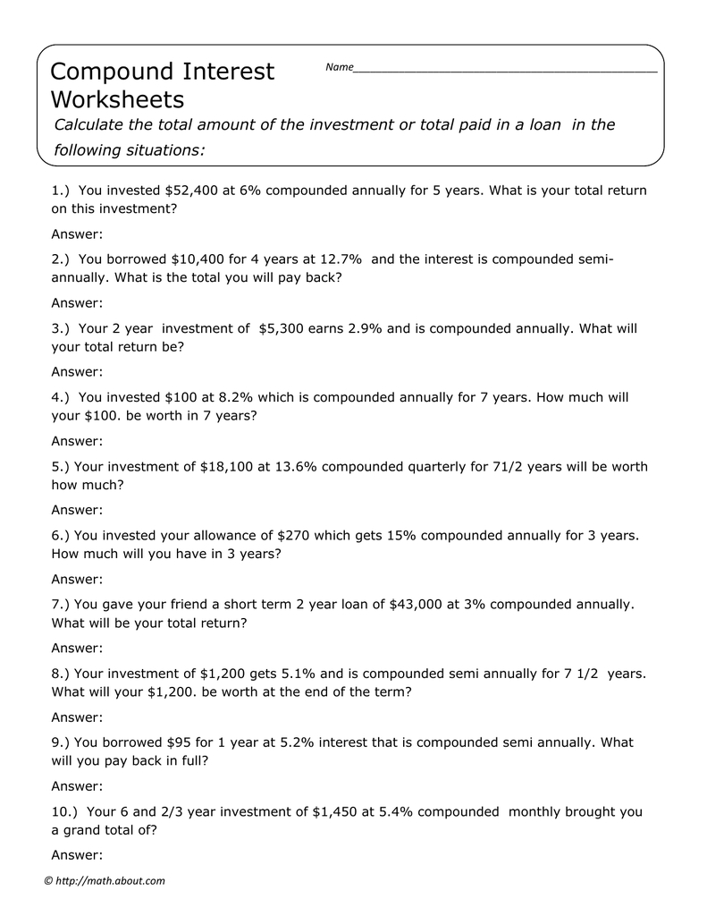 Compound Interest Worksheets Following Situations