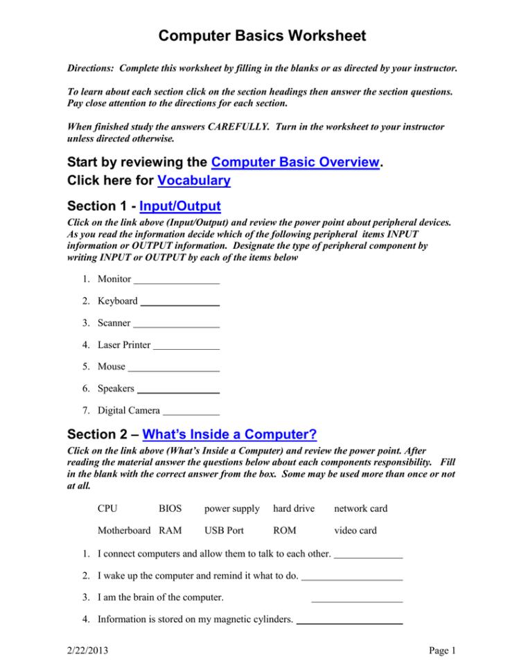 Computer Basics Worksheet Section 8 — db excel.com