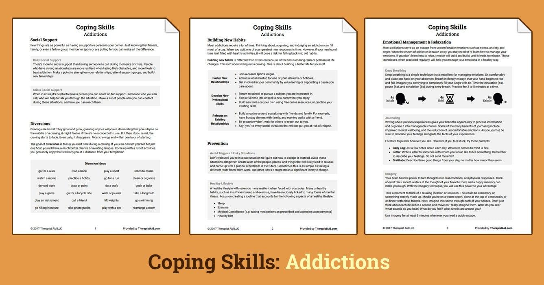 Coping Skills Addictions Worksheet  Therapist Aid