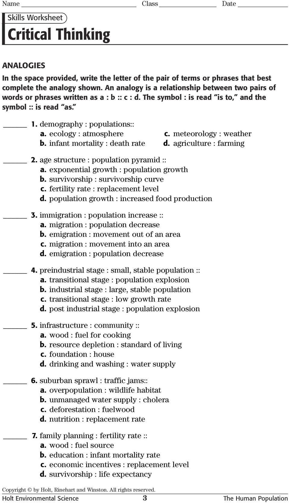 Critical Thinking Analogies Skills Worksheet  Pdf