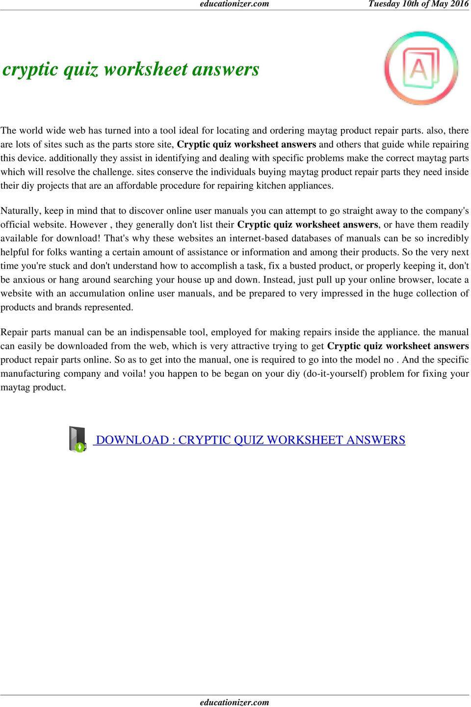 Cryptic Quiz Worksheet Answers  Pdf