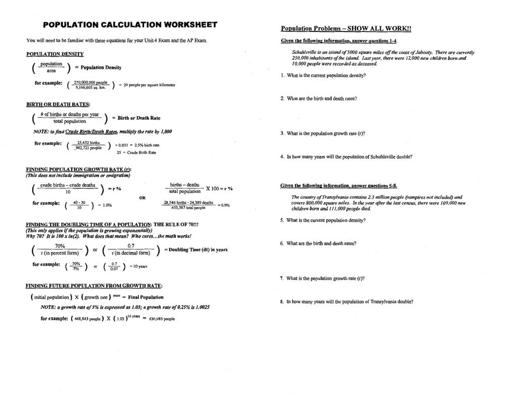 Day 2  Apes Population Calculation Worksheet
