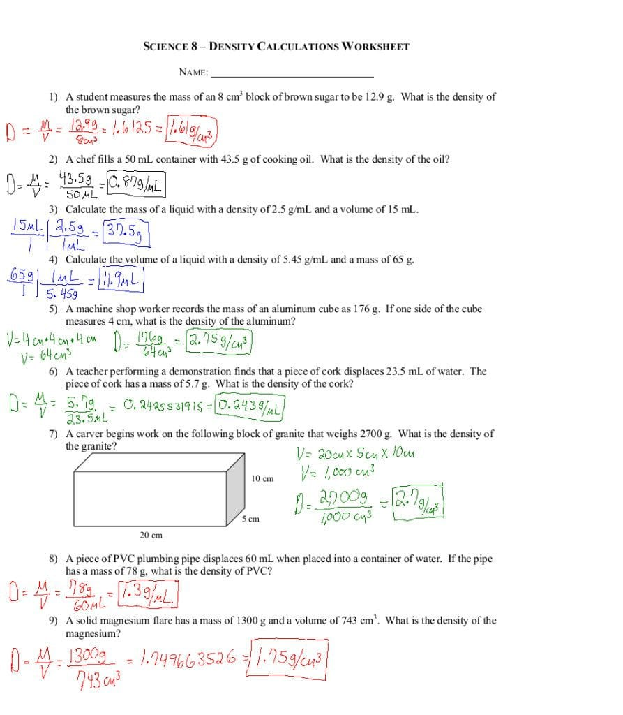 Density Practice Problems Key Density Practice Problems ...