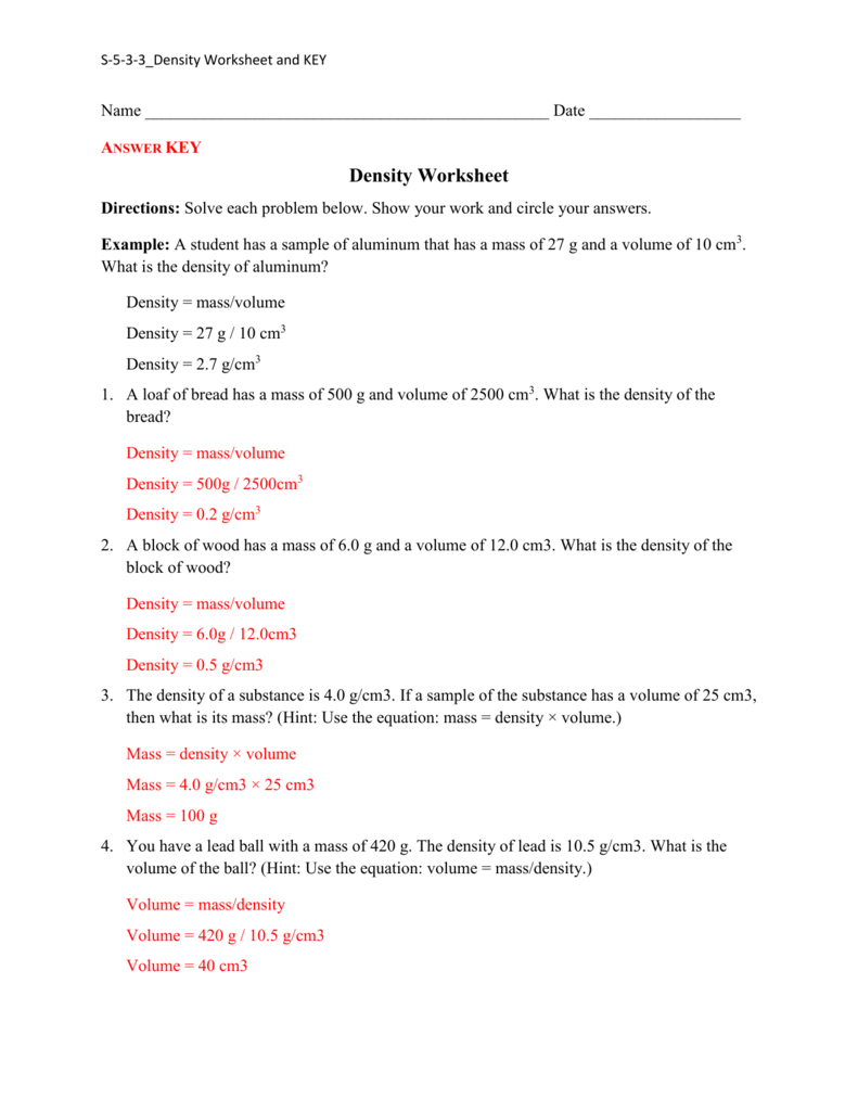 Density Practice Worksheet Answers
