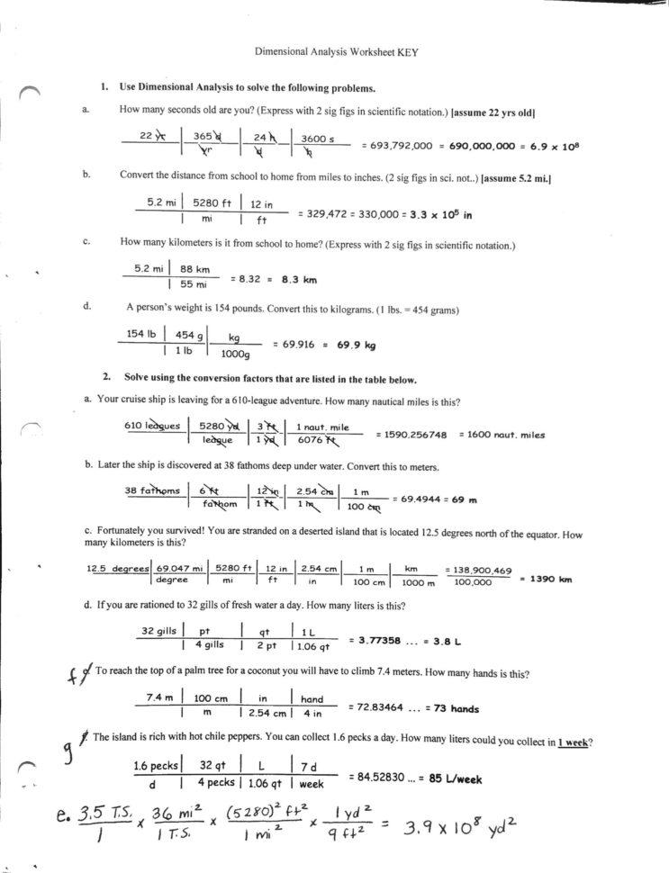 Dimensional Analysis Chemistry Worksheet Dimensional — db ...