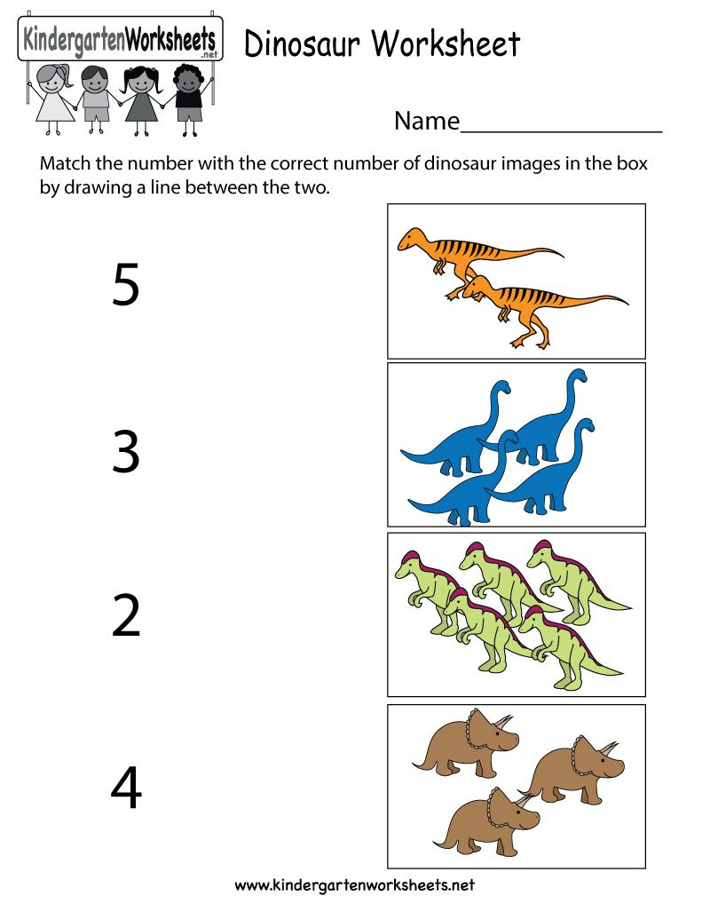 Dinosaur Worksheet  Free Kindergarten Learning Worksheet