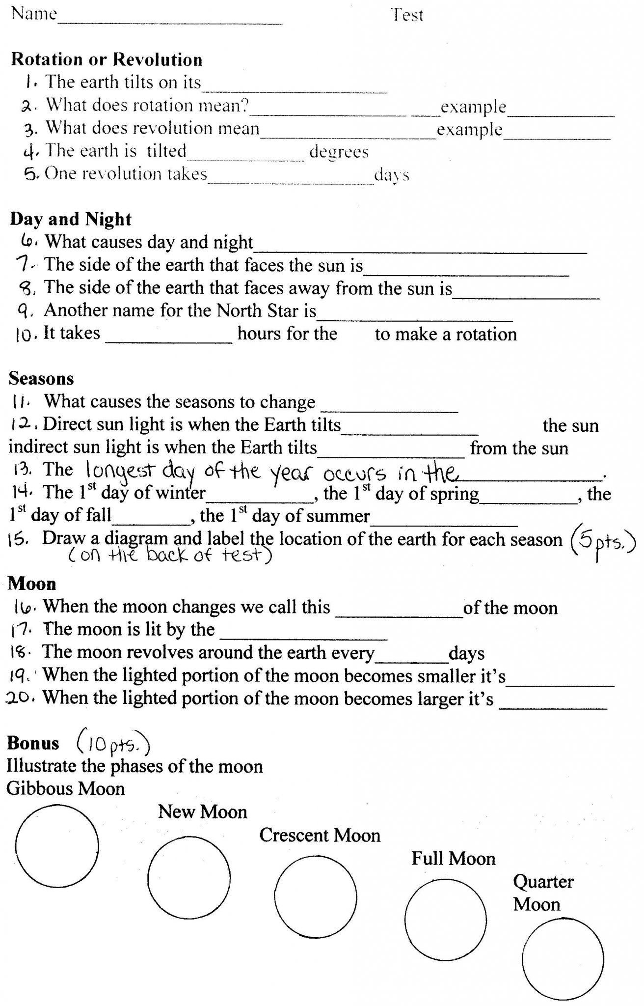 worksheets science earth worksheet grade space astronomy 6th answers middle rotation printables 4th revolution system exam seasons layers moon cycle