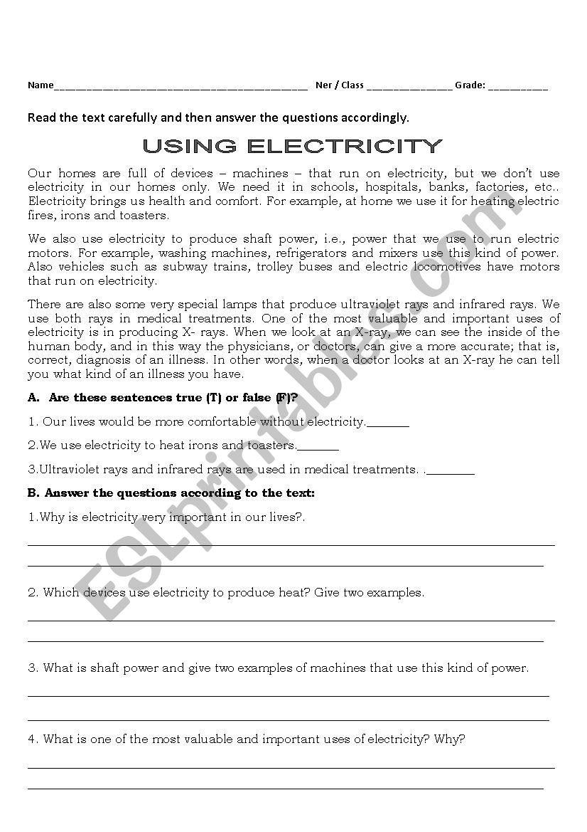 Electricity Today  Esl Worksheetisabella31