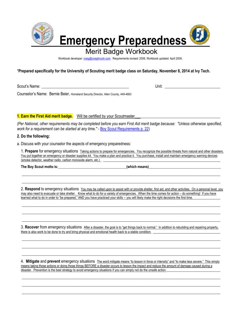 Emergency Preparedness Merit Badge Workbook