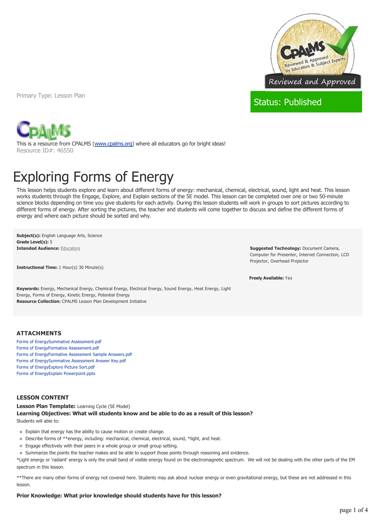 Energy Forms And Changes Simulation Worksheet Answers | db ...