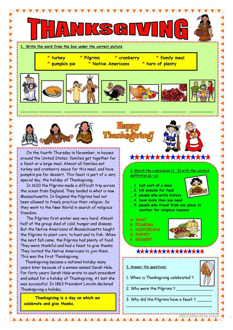 English Esl Thanksgiving Worksheets  Most Downloaded 140