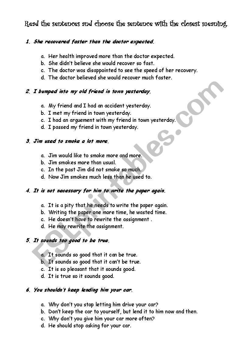 English Worksheets Restatement
