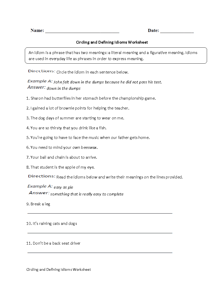 Englishlinx  Idioms Worksheets