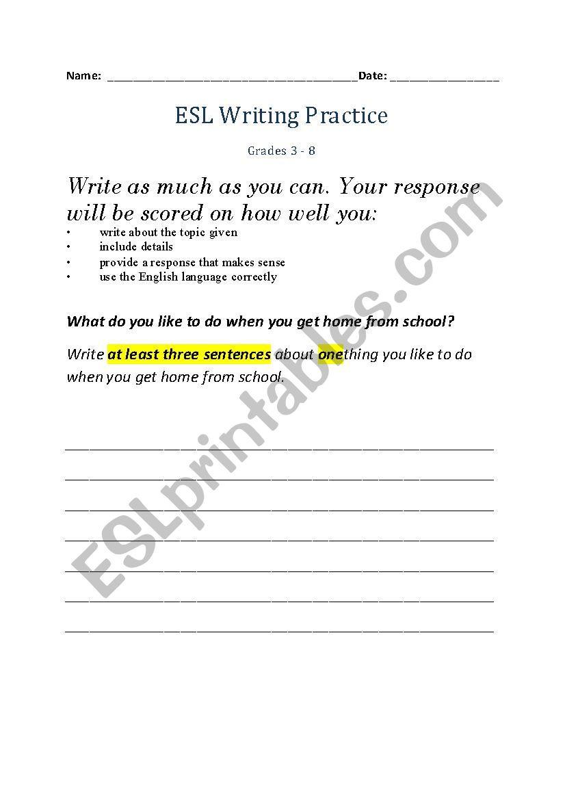 Esl Writing Practice  Esl Worksheetnduet