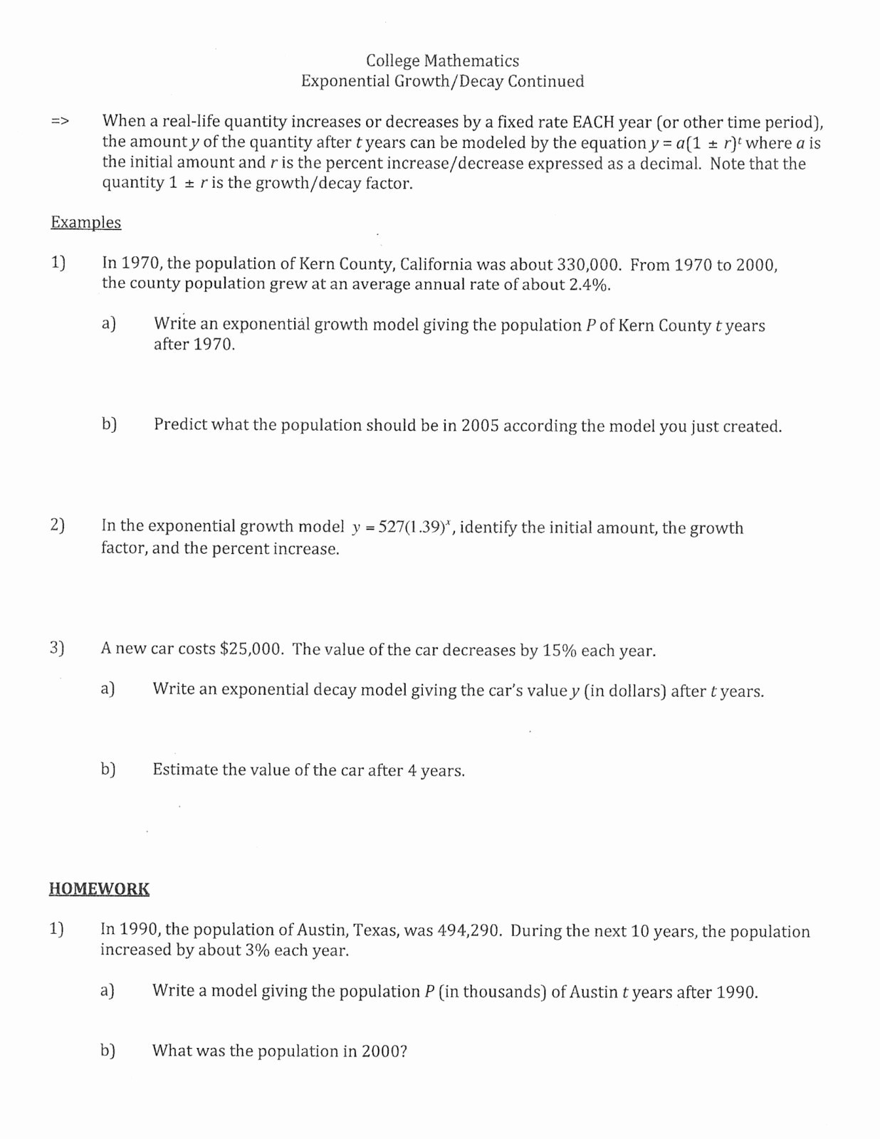 Exponential Growth And Decay Word Problems Worksheet Solving