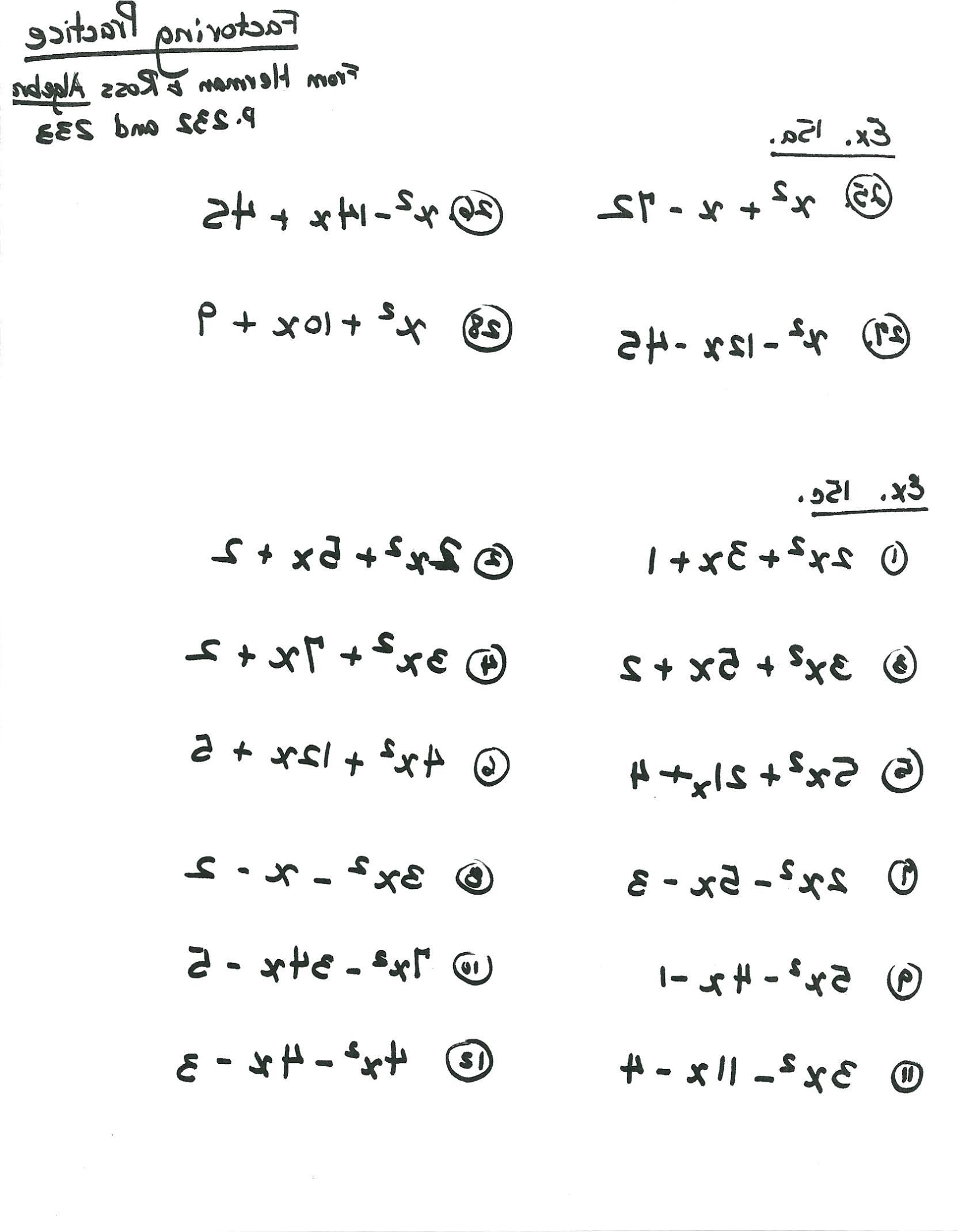 Factoring Trinomials Of The Form Ax2 Bx Ax2Bxc Worksheet
