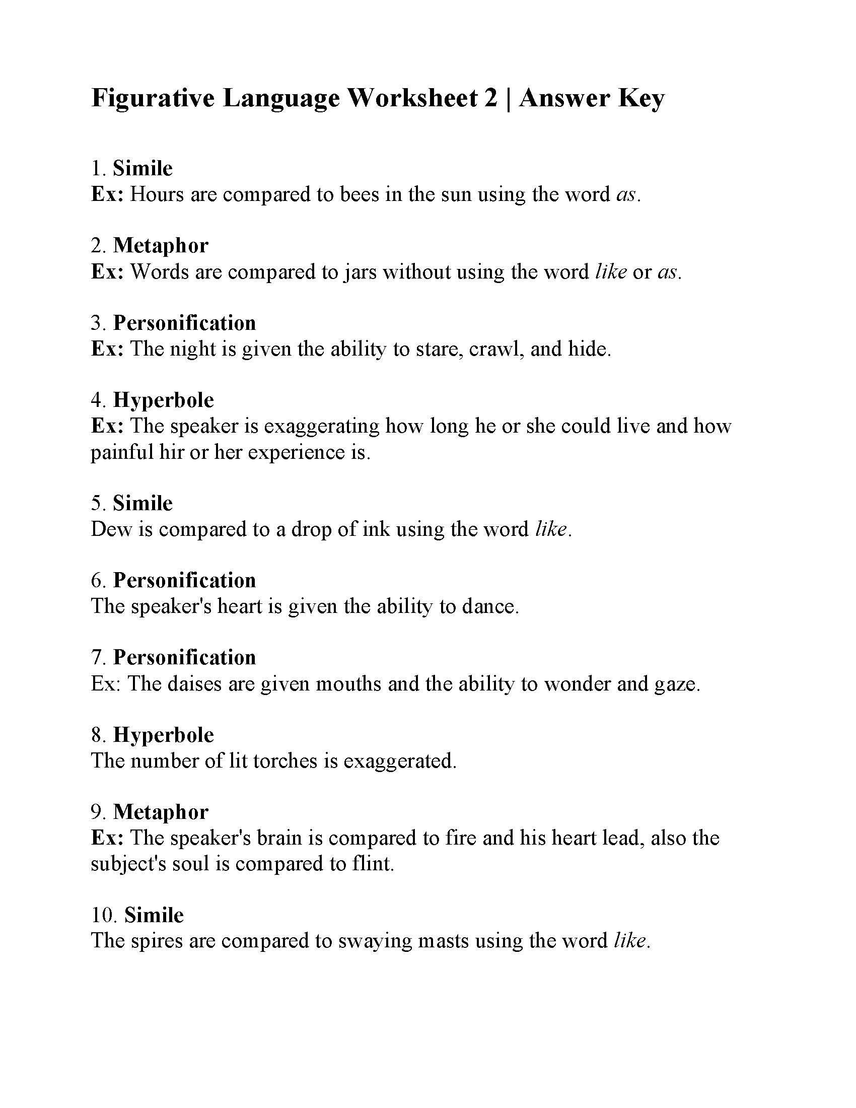 Figurative Language Worksheet 2 Answers | db-excel.com