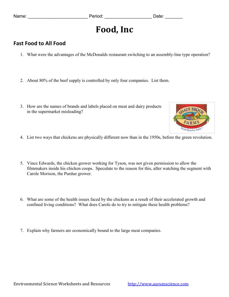 Food Inc  Video Worksheet