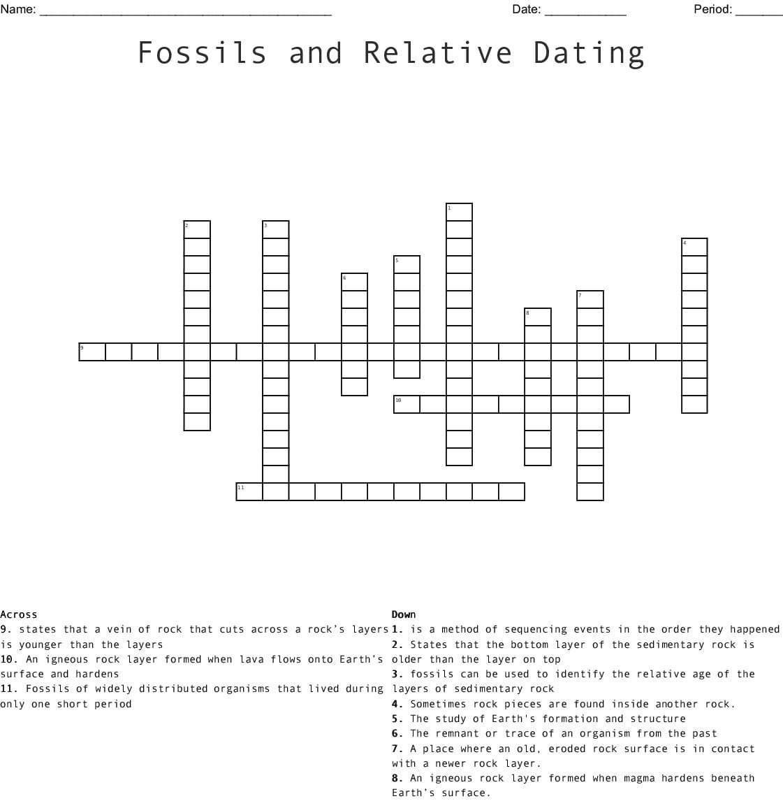 Fossils And Relative Dating Crossword Word | db-excel.com