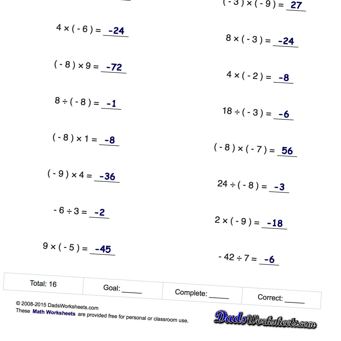 Free Printable 8Th Grade Math Worksheets With Answer Key ...