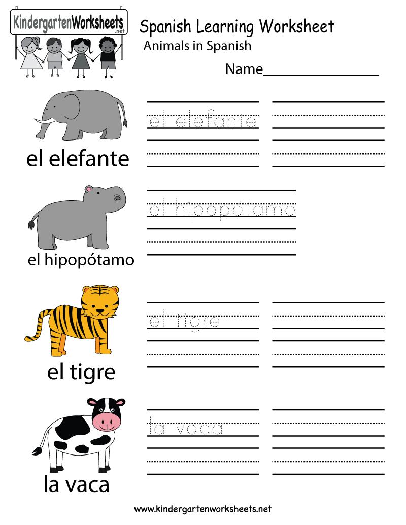 Free Printable Spanish Learning Worksheet For Kindergarten