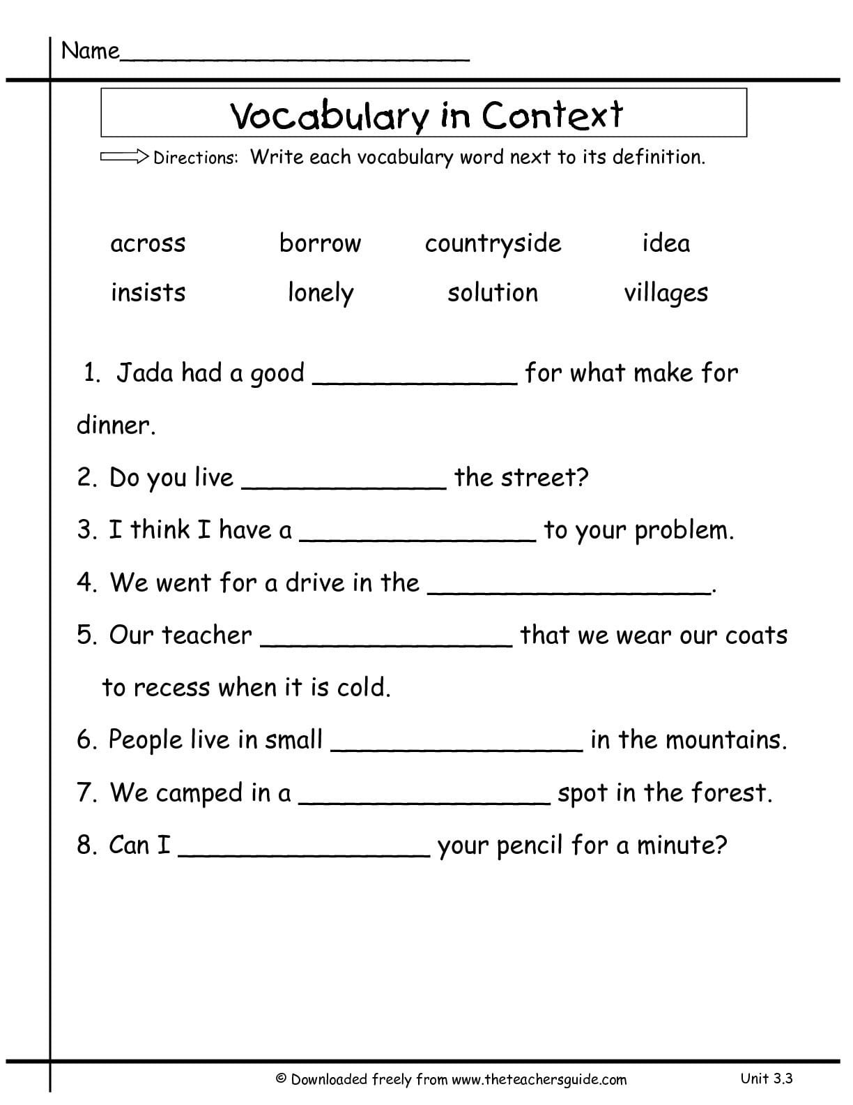 2Nd Grade Vocabulary Worksheets — db excel.com