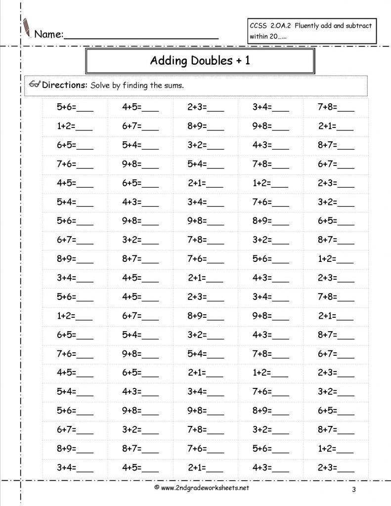 Freesingledigitadditionworksheets Htm Doubles Plus One Worksheets