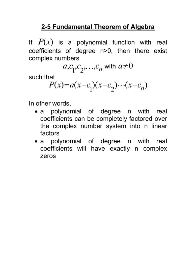 Fundamental Theorem Of Algebra — db excel.com