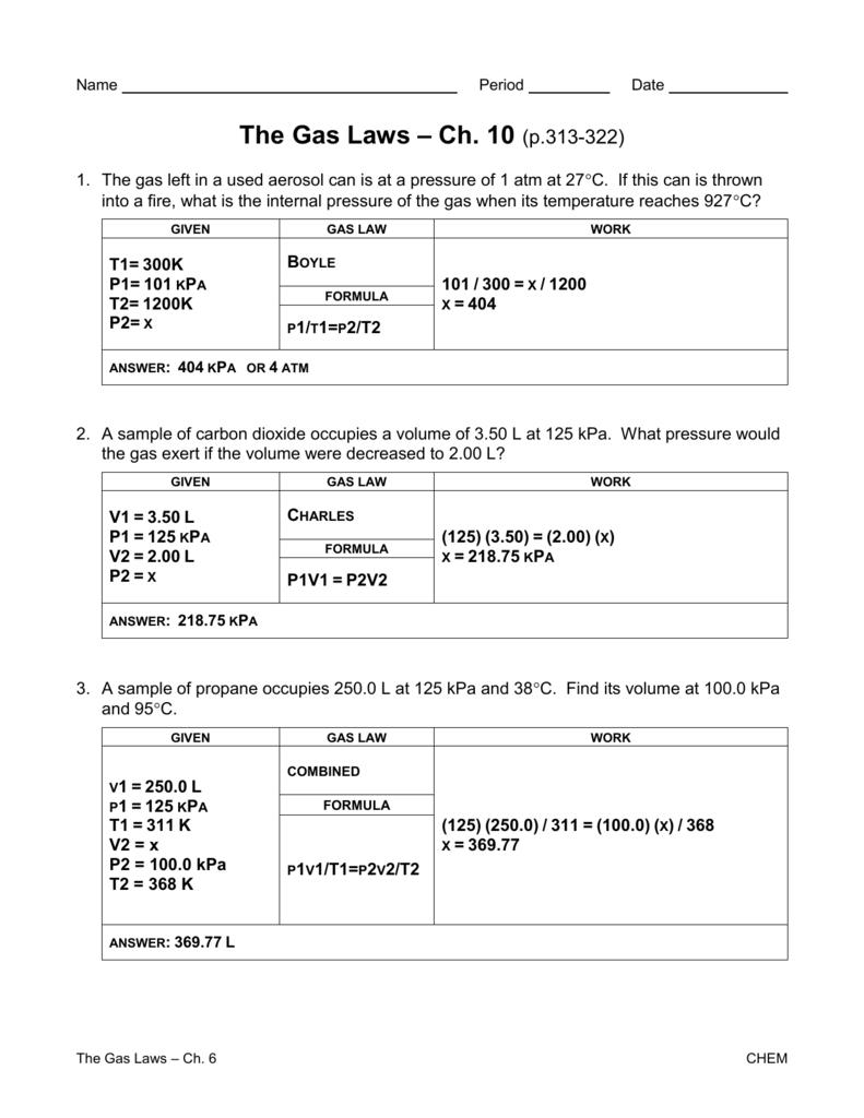 Gas Laws Worksheet 1 Answer Key | db-excel.com